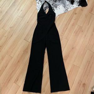 Black low cut halter top jumpsuit!